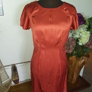 BANANA REPUBLIC CORAL SILK BODY HUGGING DRESS